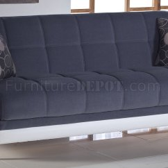 Modern White Leather Club Chair Posture Deluxe Duru Sofa Bed Cozy Gray - Sunset Two-tone Fabric & Leatherette