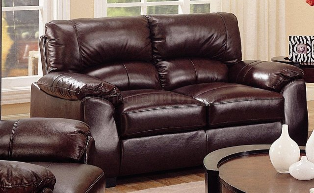 Rich Brown Leather Match Contemporary Living Room Sofa w ...