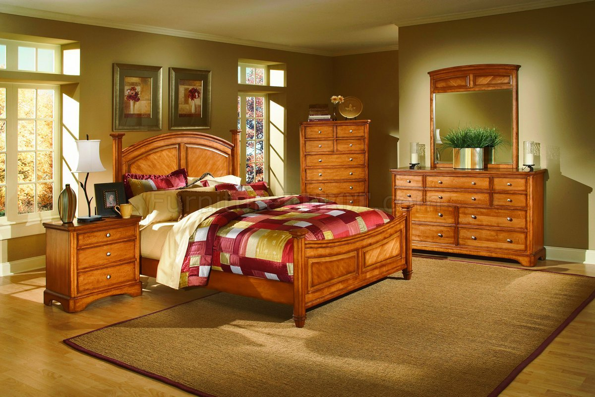 Oak Finish Classic Arched Headboard Bed wOptional Case Pieces