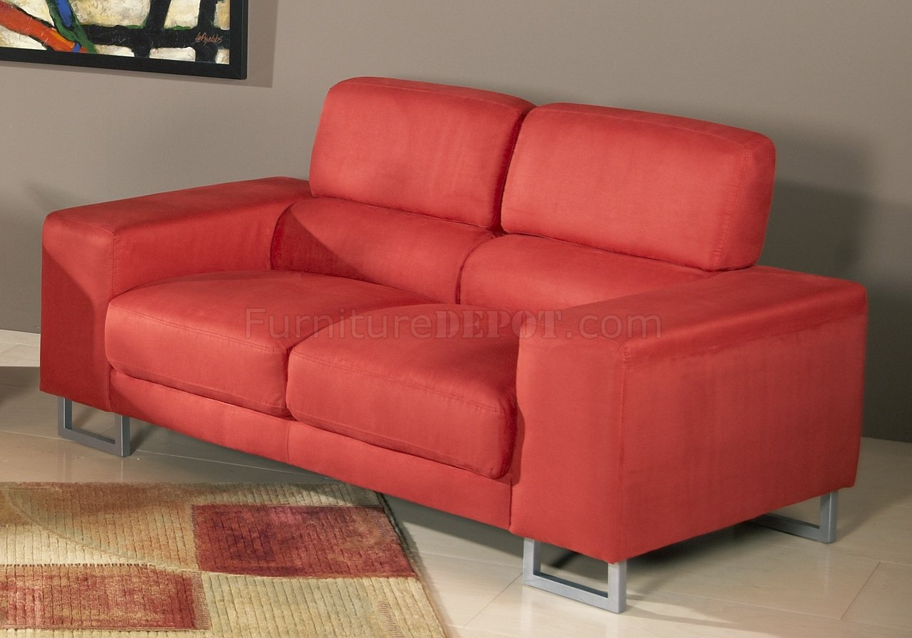 red microfiber reclining sofa arm tray canada modern and loveseat set w metal legs