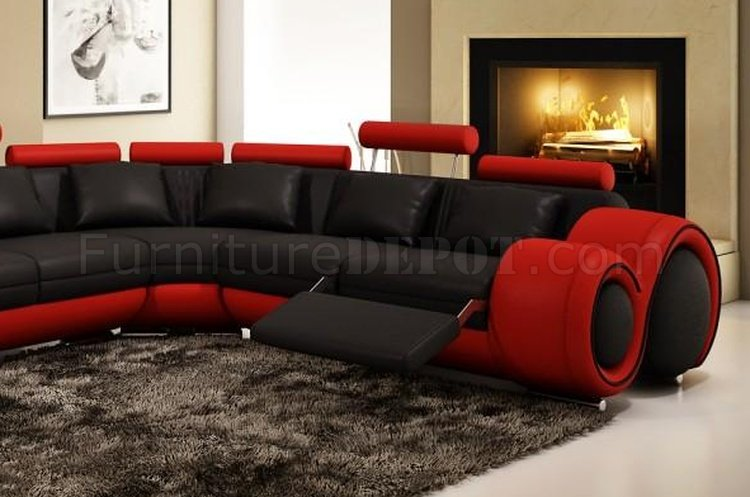 4087 Sectional Sofa In Black Amp Red Bonded Leather By VIG
