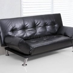 Black Vinyl Futon Sofa Folding Modern Bed Convertible W Metal Legs