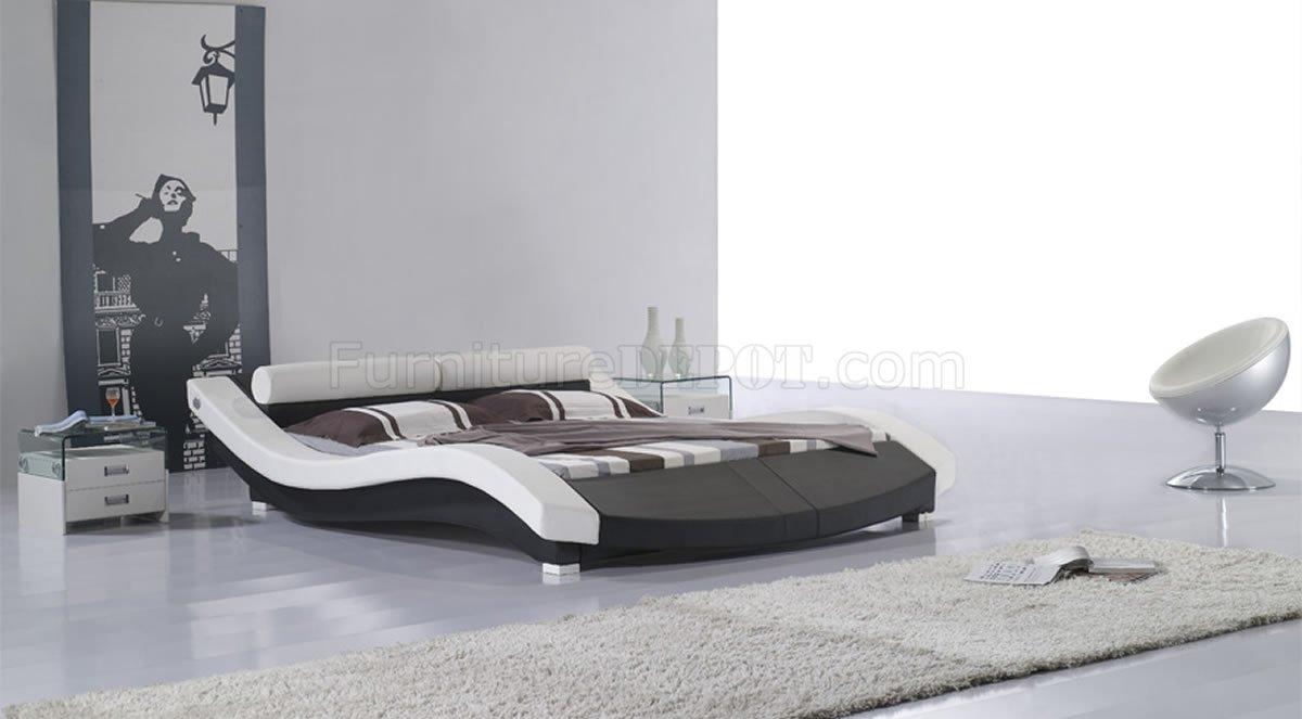 Black White Leatherette Modern Bed W Bolster Shape Headboard