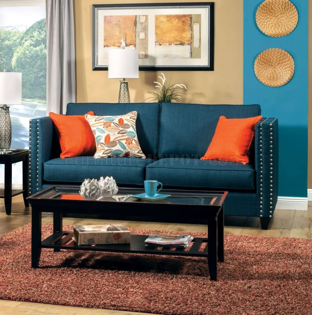 Palermo SM4001 Sofa in Dark Teal Fabric wOptions