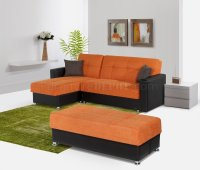 Lego Sectional Sofa Convertible in Orange Microfiber by Rain