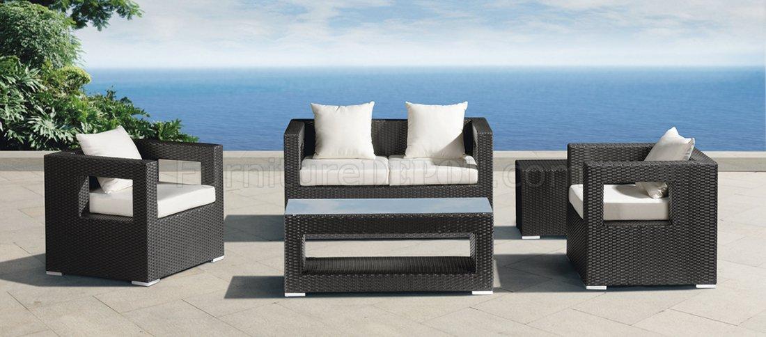 black white modern outdoor 5pc patio