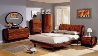 Two-Tone Cherry Color High Gloss Finish Contemporary Bedroom