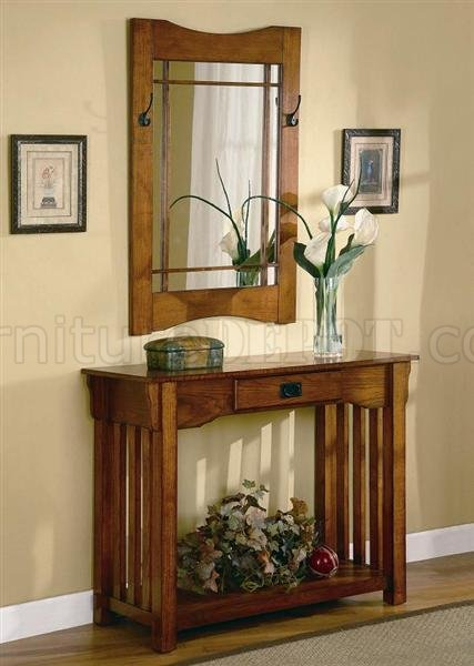 Oak Finish Mission Style Entry Way Table  Mirror
