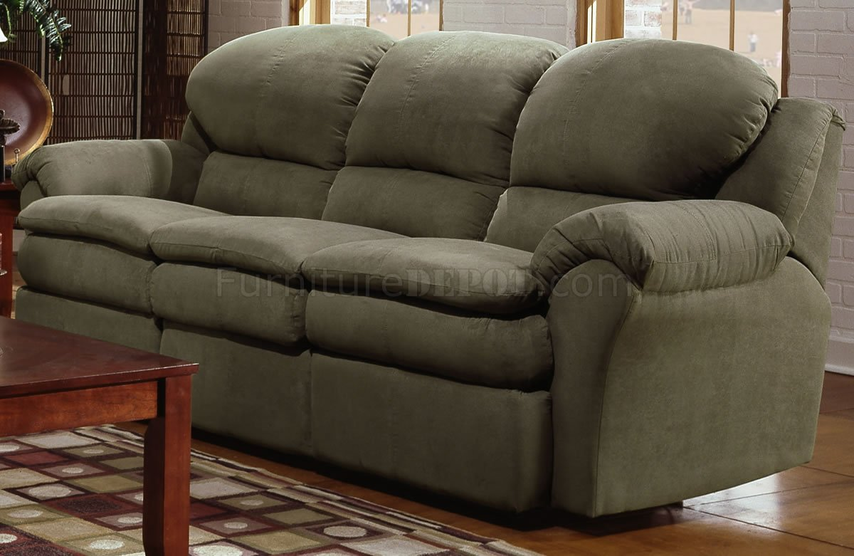 microfiber sofa and loveseat recliner 3pc set olive modern double reclining