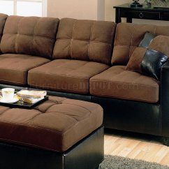 Chocolate Brown Leather Sectional Sofa With 2 Storage Ottomans Bed Mattress Memory Foam Two Tone Modern 500655 Dark