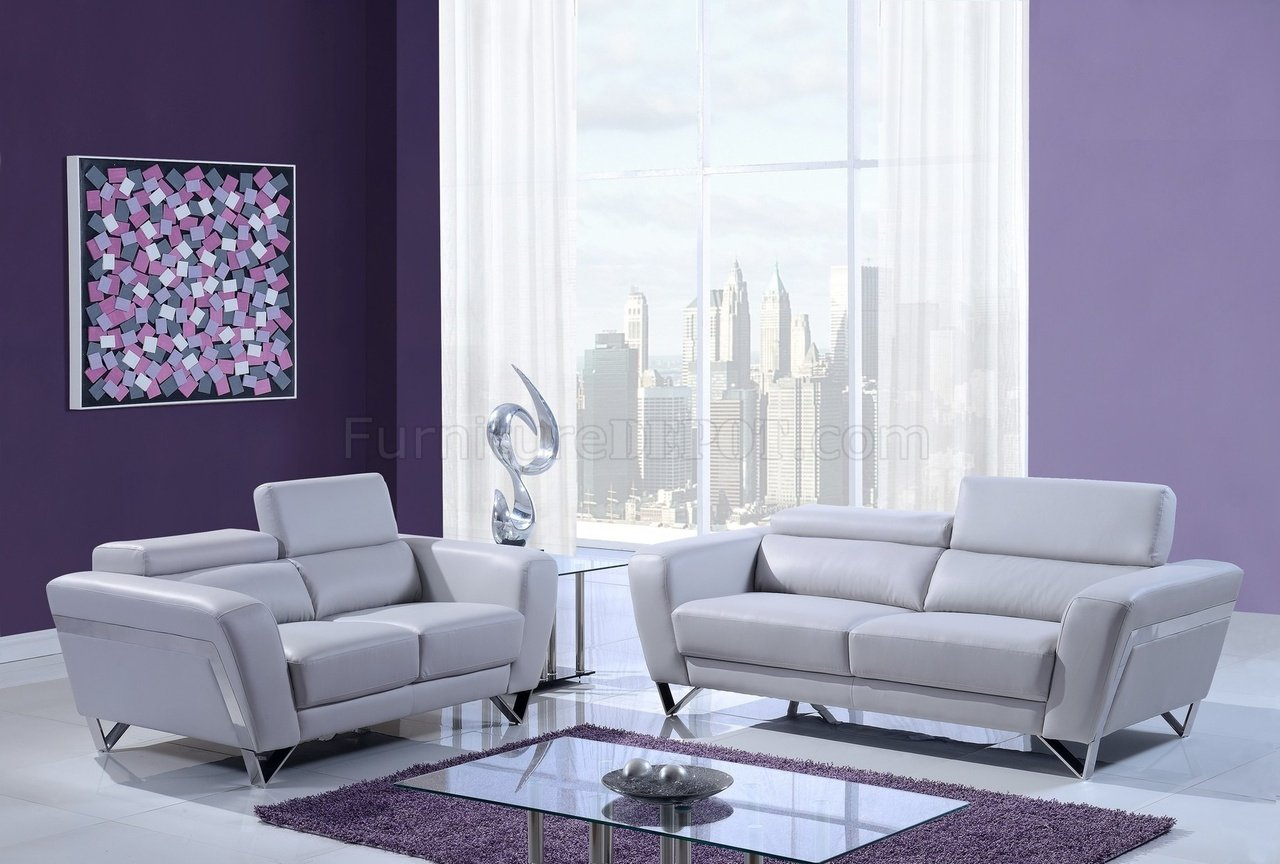 light gray leather sofa set bed lower mainland u7120 3pc in grey bonded by global