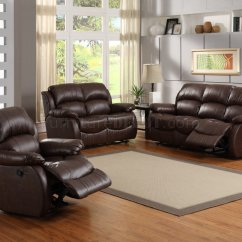 Motion Sofa Set Bed With Storage Chaise 9887 In Dark Chocolate Leather By Homelegance