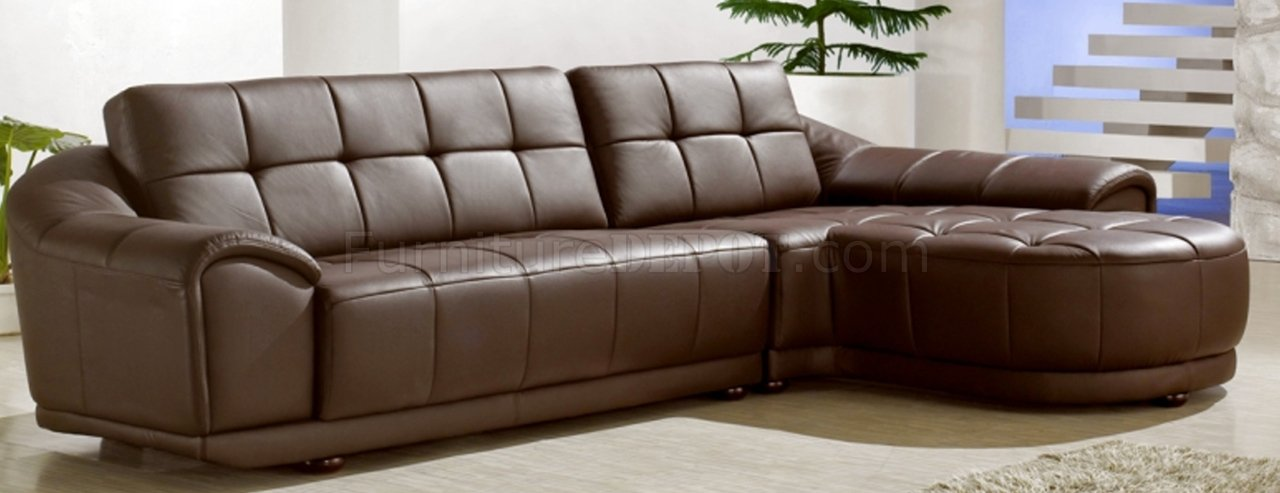 Chocolate Brown Bonded Leather Modern Stylish Sectional Sofa