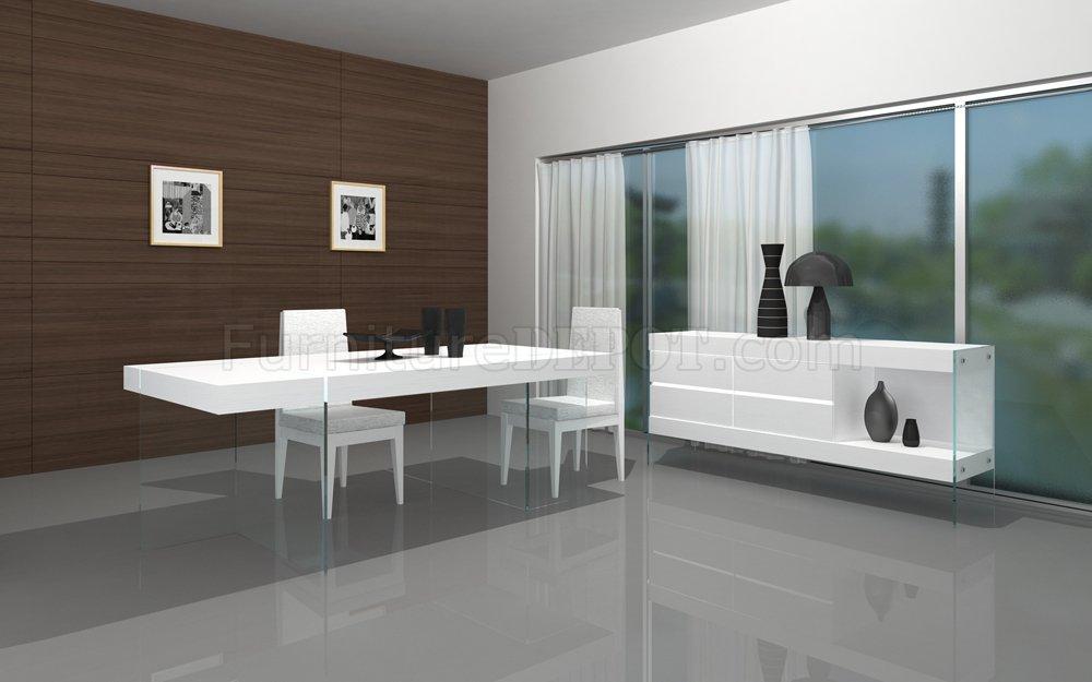 White Finish Modern Dining Table WGlass Base Amp Optional Items