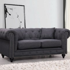 Gray Linen Chesterfield Sofa Light Weight 662gry In Grey Fabric W Optional Items