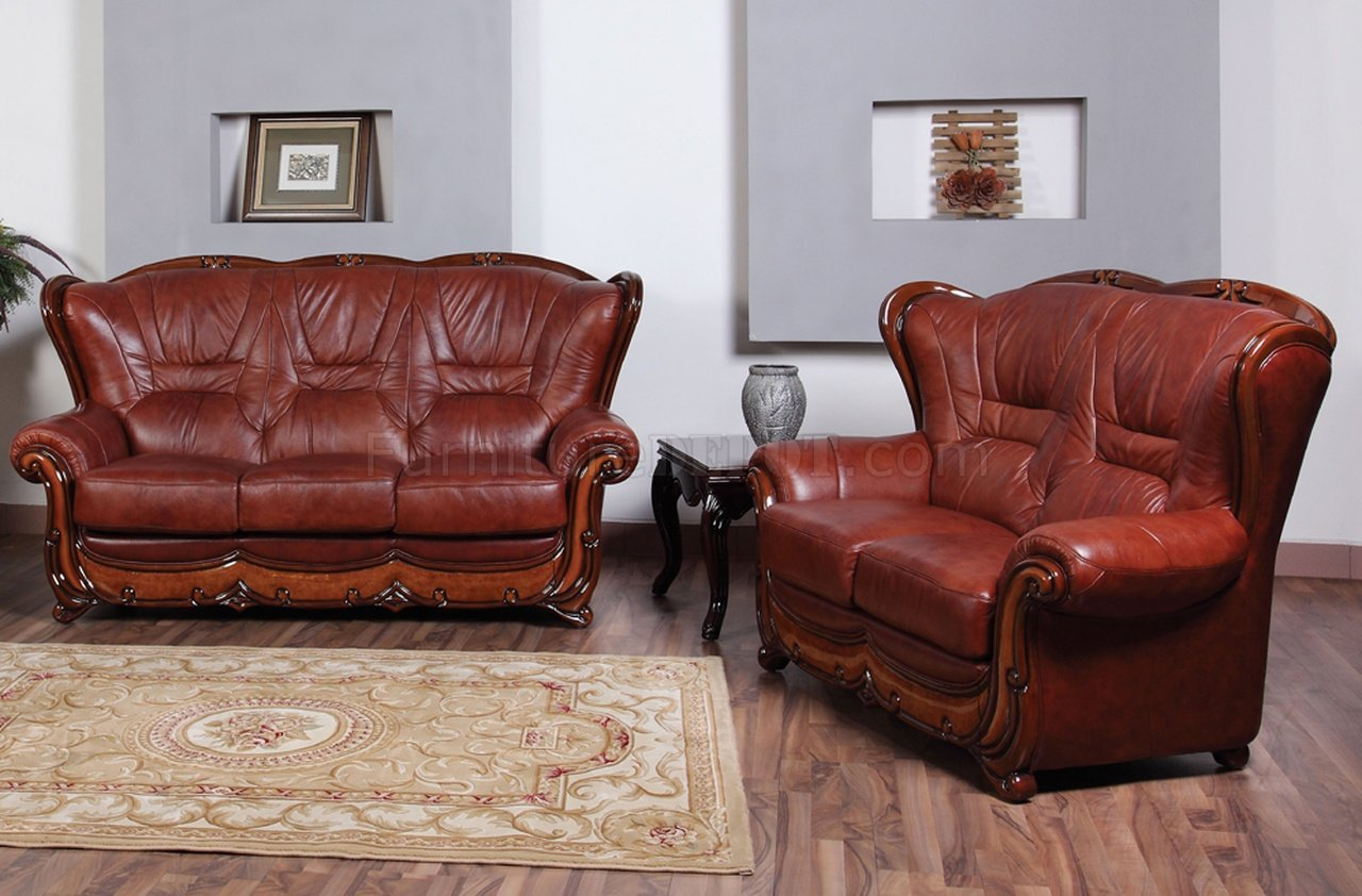 genuine leather sofa and loveseat where can i find cheap sofas 100 in by esf w optional chair