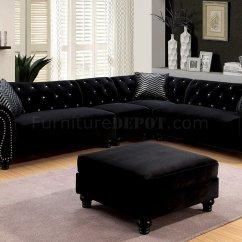 Sectional Sofas Microfiber Fabric In San Antonio Texas Jolanda Ii Sofa Cm6158bk Black W/options