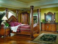 Warm Cherry Finish Royal Post Canopy Bed w/Optional Case ...