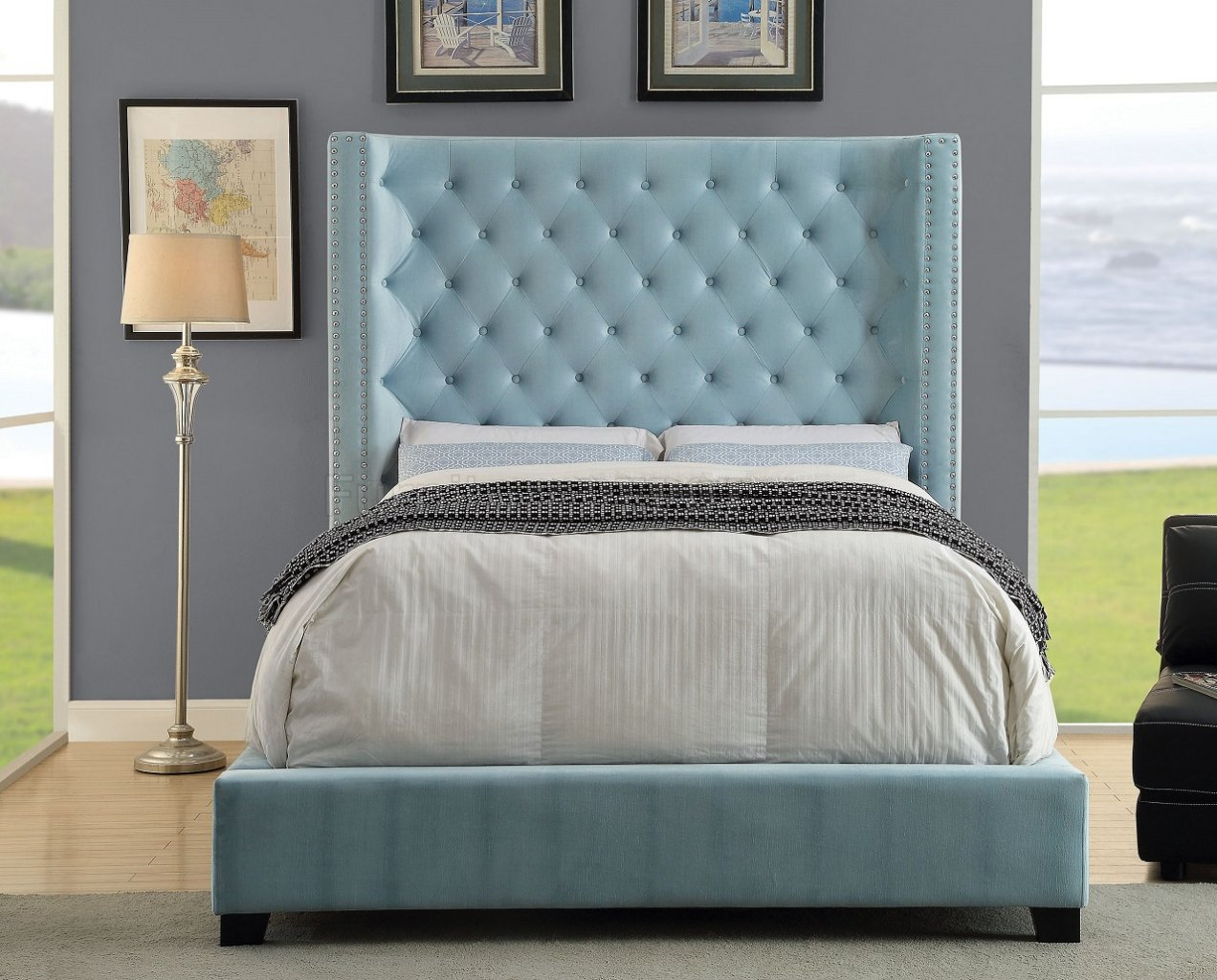nailhead trim leather sofa set grey tufted bed mirabelle cm7679bl upholstered in blue fabric