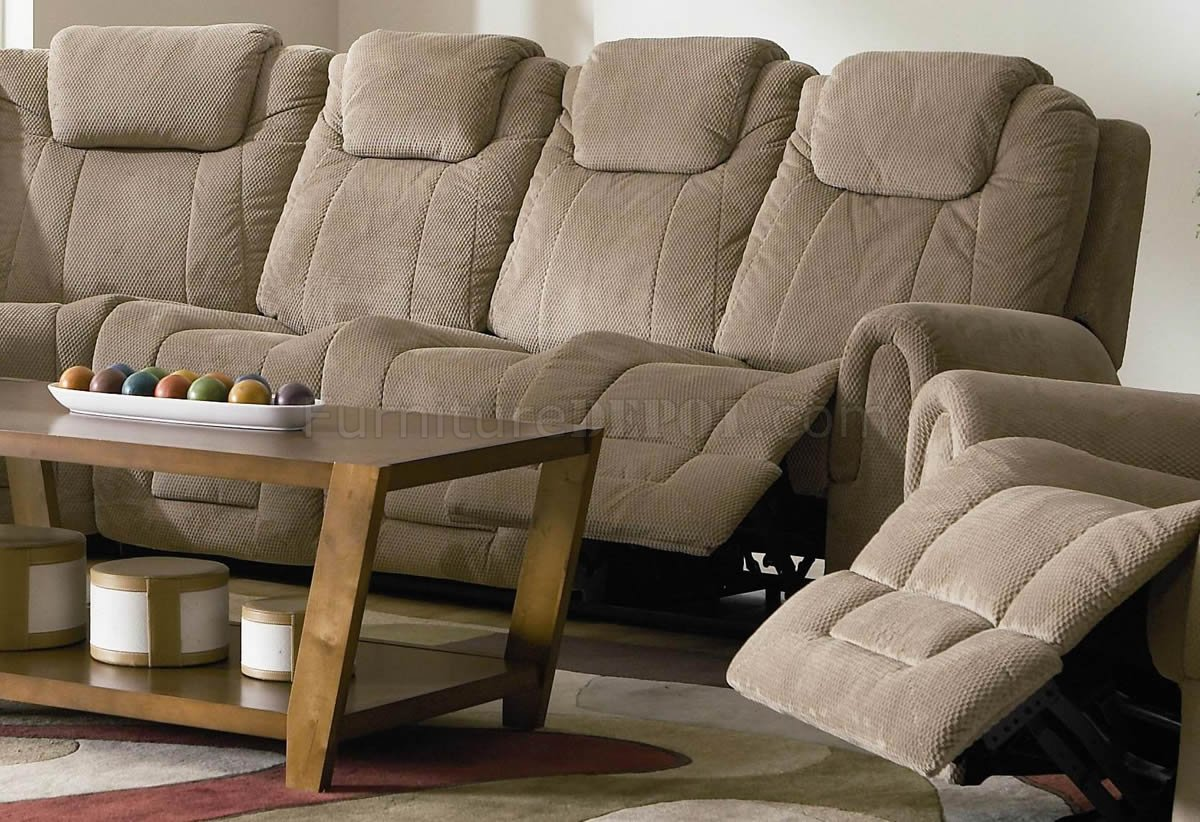 Tan Fabric Modern Motion Sectional Sofa wOptional Recliner