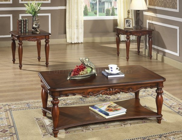 Rich Walnut Finish Traditional 3pc Coffee Table Withcocktail
