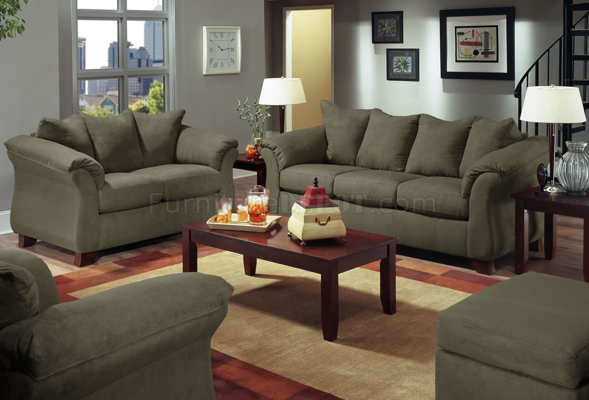 Olive Microfiber Modern Sofa  Loveseat Set wOptional Items