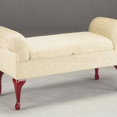 Queen Anne Living Room Sets Brown Leather Stylished Upholstered Storage Bench W/queen Legs