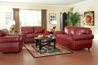 Burgundy Full Leather Traditional Living Room w/Options