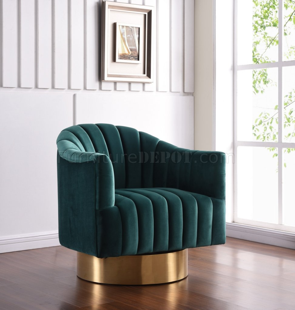 swivel club chair red satin sashes farrah accent 520 in green velvet fabric by meridian