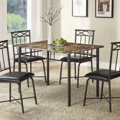 Metal Kitchen Chair Wheelchair Genius Faux Marble Top And Black Legs Modern 5pc Dinette Set