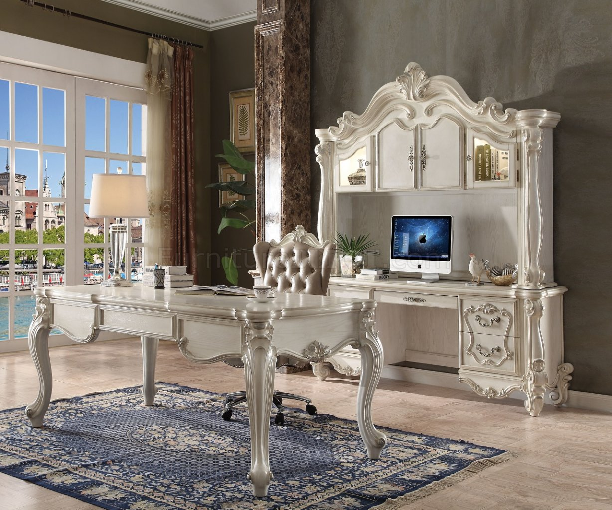 modern white leather club chair stacking garden covers versailles executive desk 92275 in by acme w/options