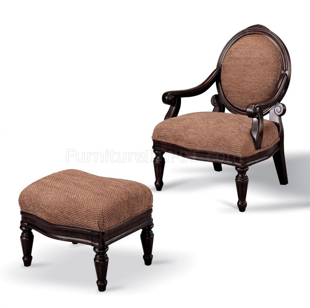 brown accent chair with ottoman striped dining fabric dark oak finish and