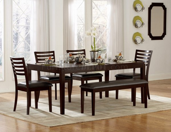 Espresso Finish Modern Dining Table Withoptional Chairs & Bench