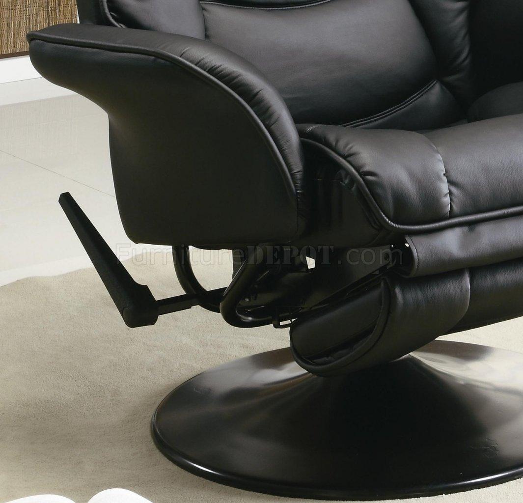 Black Leatherette Modern Swivel Recliner Chair W Round Base