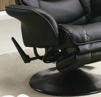 Black Leatherette Modern Swivel Recliner Chair w/Round Base