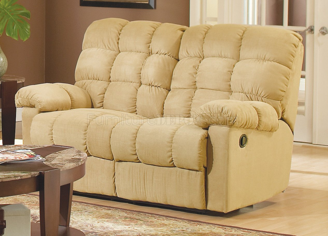 Tan Microfiber Fabric Modern Reclining Sofa wOptional Items