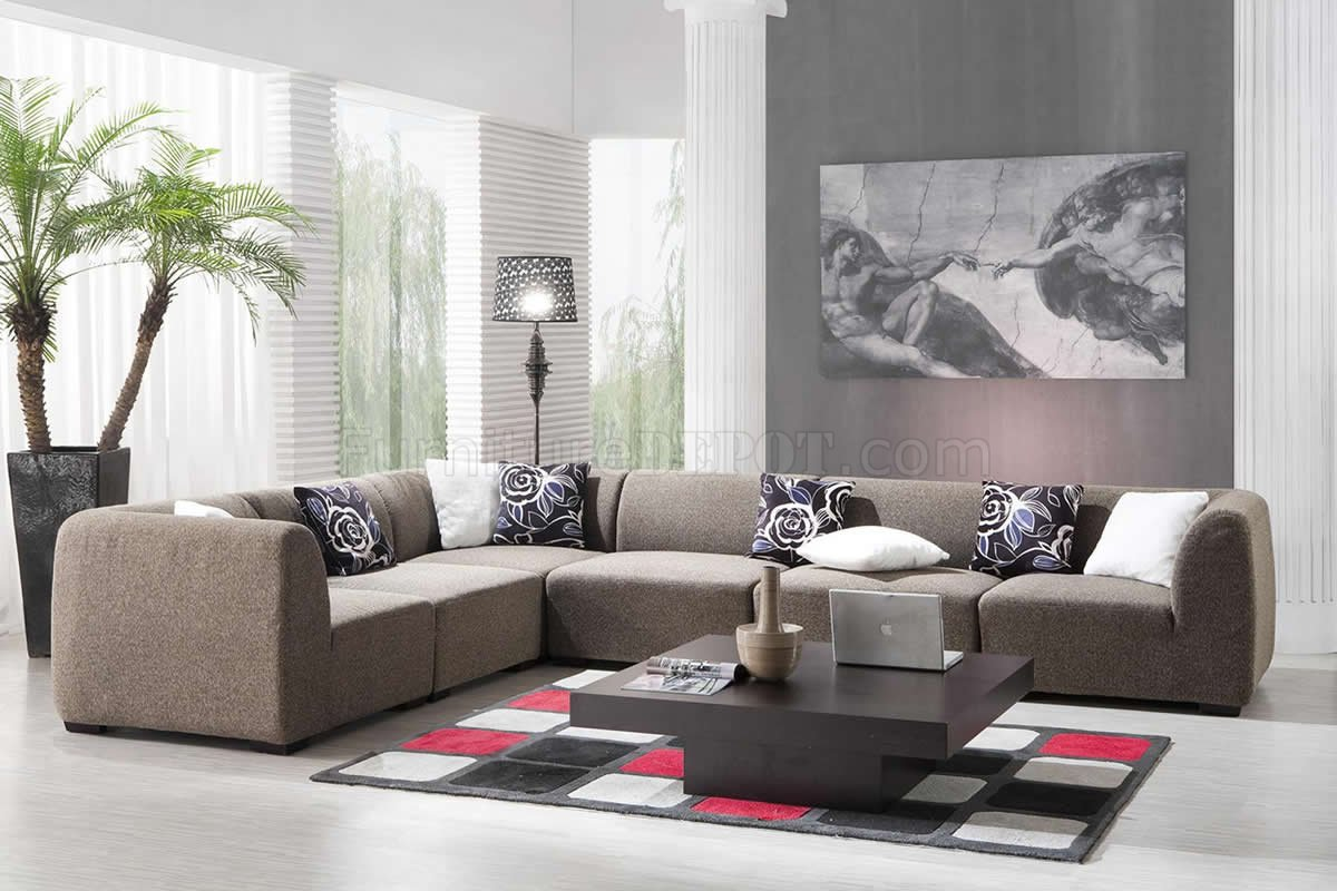 Light Brown Fabric Modern Reversible Sectional Sofa Set