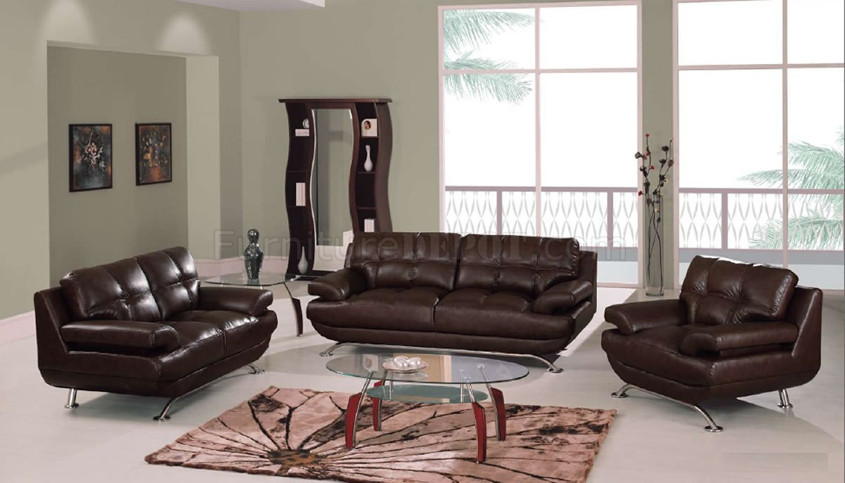 Brown Leather Elegant Contemporary Living Room WTufted Seats
