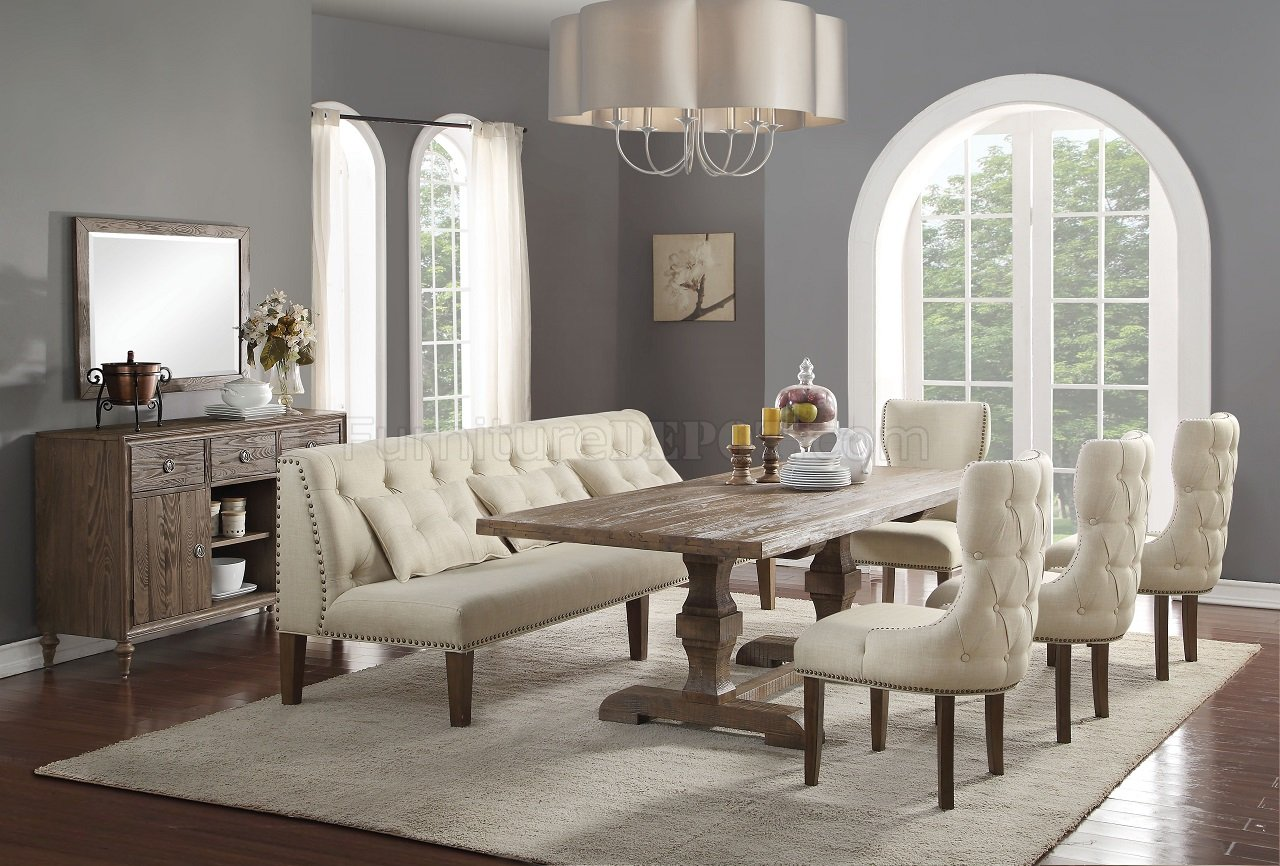 Inverness Dining Table 66080 In Reclaimed Oak By Acme W