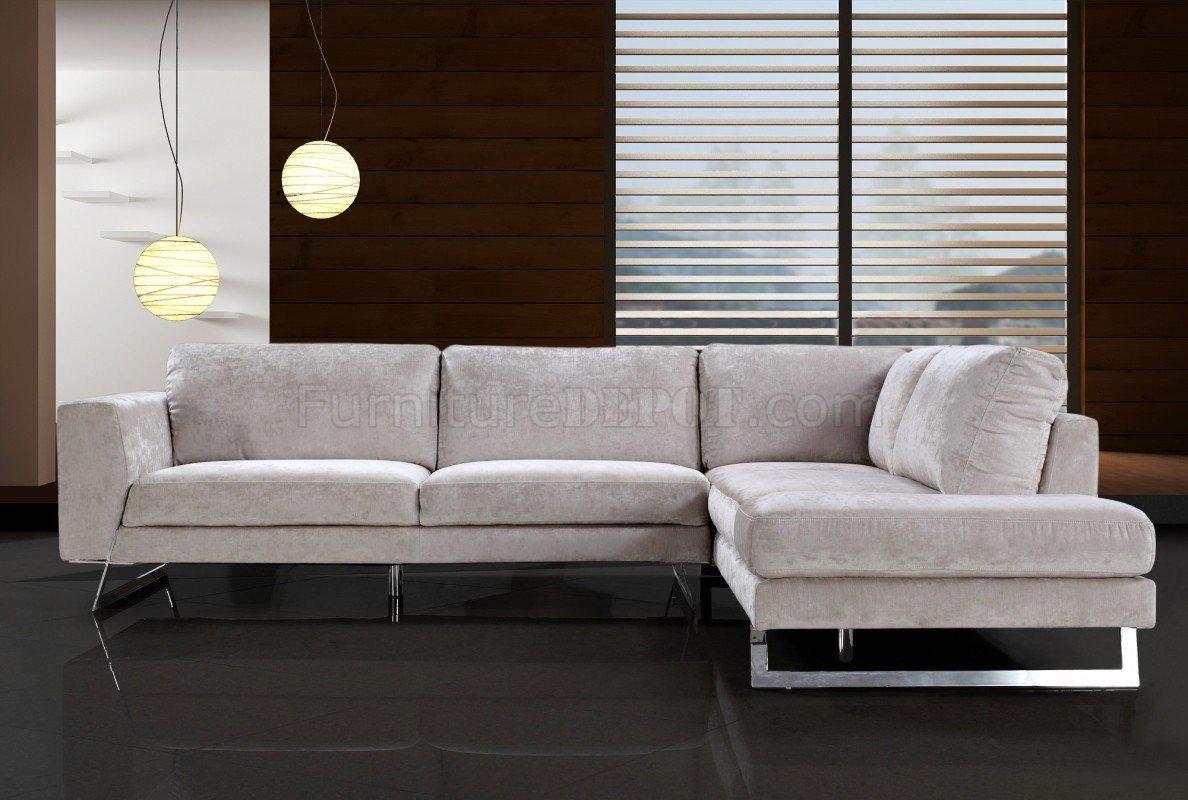 sofas with legs sorrento sofa beige microfiber modern sectional w chrome metal