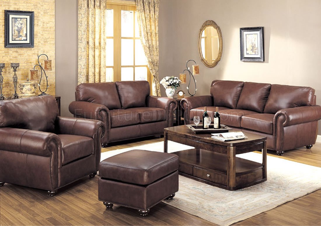 Brown Full Leather Traditional Living Room
