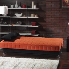 Orange And Black Sofa Bed Sectional For Studio Apartment Rio Fabric Convertible W Accents