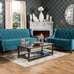 Modern Leather Living Room Set Curtains Limerick Sm2882 Sofa In Dark Teal Fabric W/options