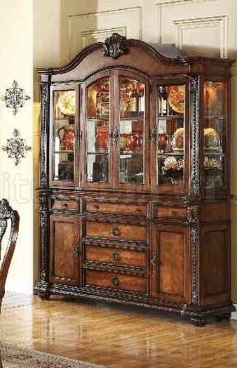 62314 Nathaneal Buffet Amp Hutch In Tobacco Cherry By Acme