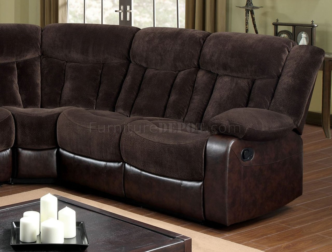 fabric sectional sofa with recliner pillows for dark leather hampshire reclining cm6809 in brown