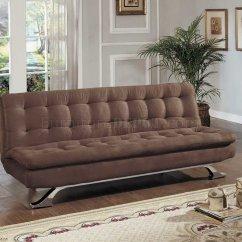 Brown Microfiber Sofa Bed Small Double Chair Modern Convertible W Chrome Legs