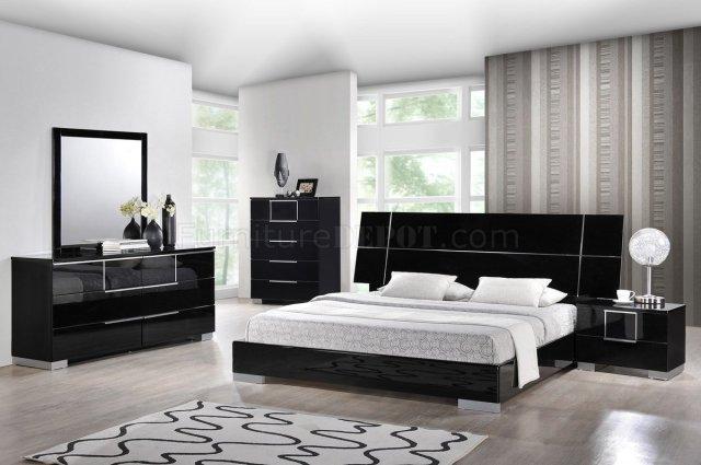 Hailey Bedroom in Black by Global w/Platform Bed & Options