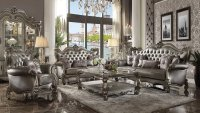 Versailles Sofa 56820 in Silver PU & Antique Platinum by Acme