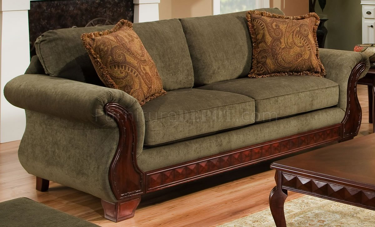 Green Fabric Traditional Sofa  Loveseat Set wCarved Wood
