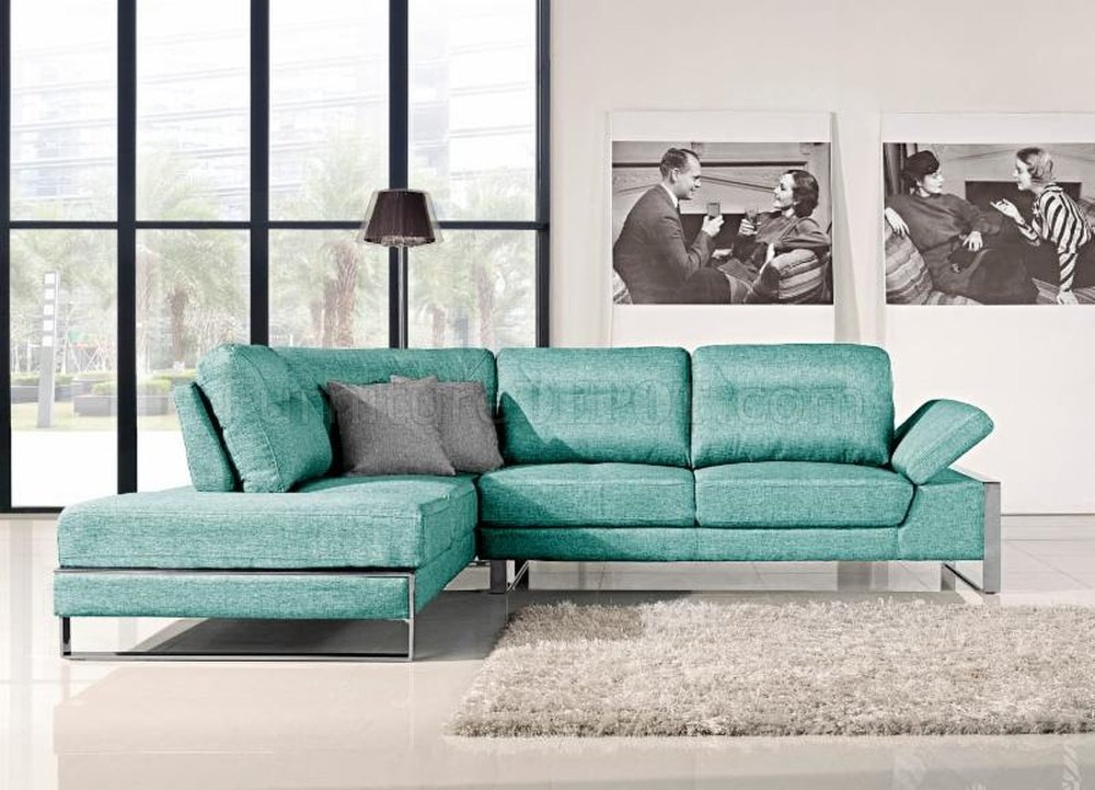 discontinued dining room chairs round table and verona 1332 sectional sofa in aqua fabric by at home usa